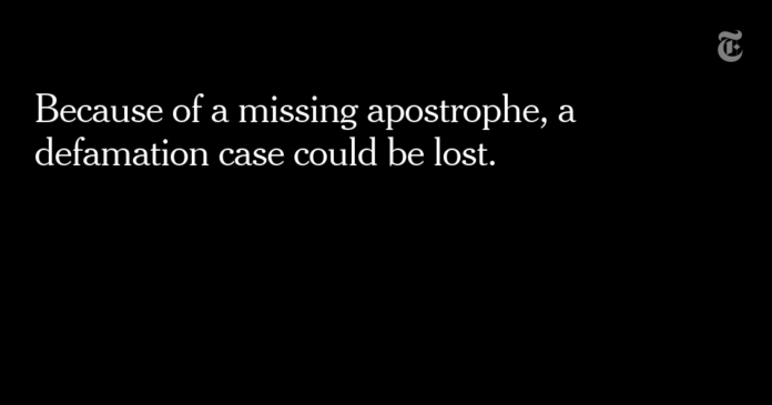 Missing Apostrophe in a Facebook Post May Cost a Man in a Defamation Case